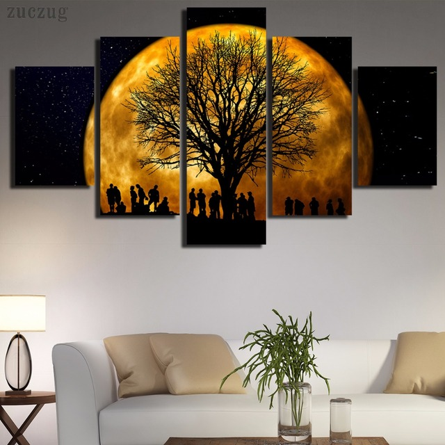 unframed romantische mond und baum silhouette 5 st ck moderne wand malerei kunst bild malen auf. Black Bedroom Furniture Sets. Home Design Ideas