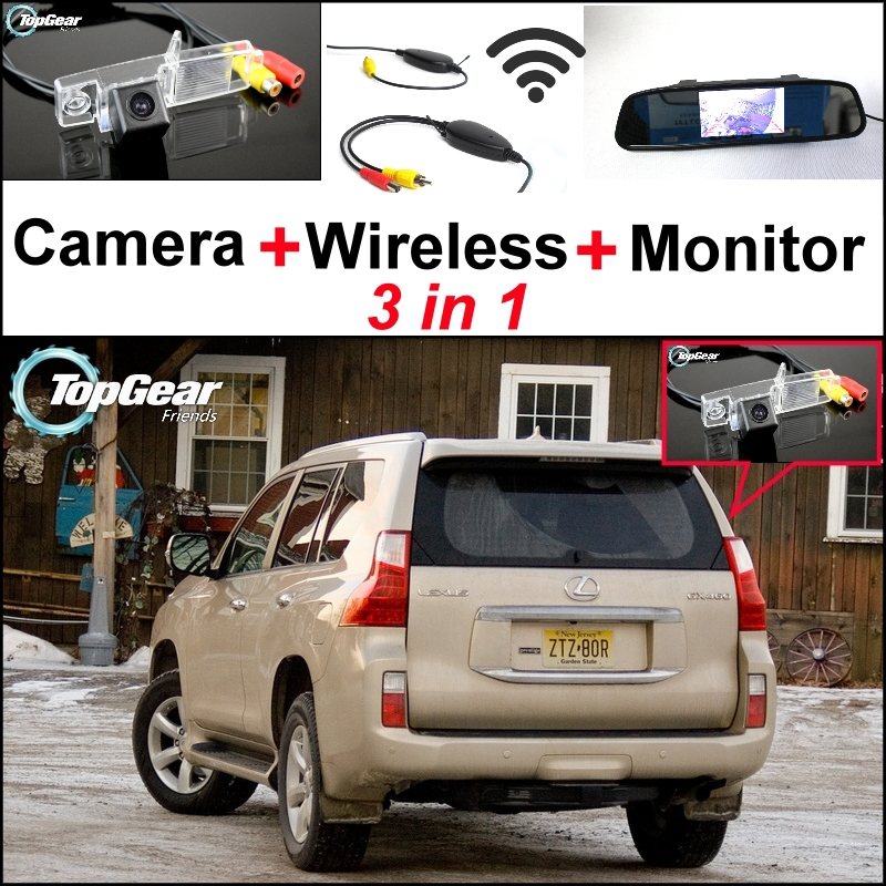 Special Camera + Wireless Receiver + Mirror Monitor 3 in1 Easy DIY Backup Parking System For LEXUS GX 460 GX460 2009~2015 wireless pager system 433 92mhz wireless restaurant table buzzer with monitor and watch receiver 3 display 42 call button