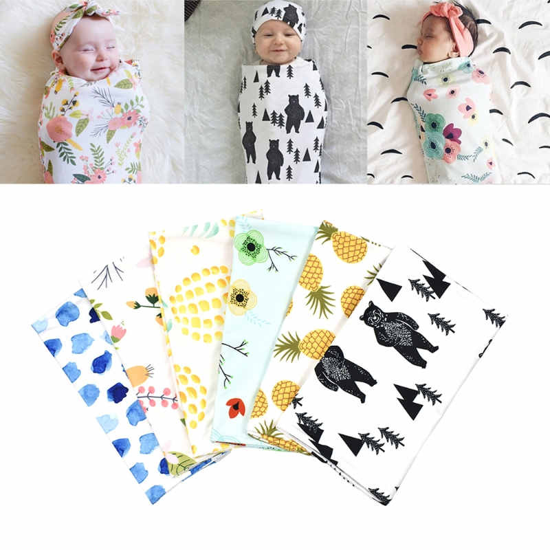 Headband or Hat 2Pcs//Set Newborn Swaddle Blanket Baby Cocoon Sleeping Bag Wrap