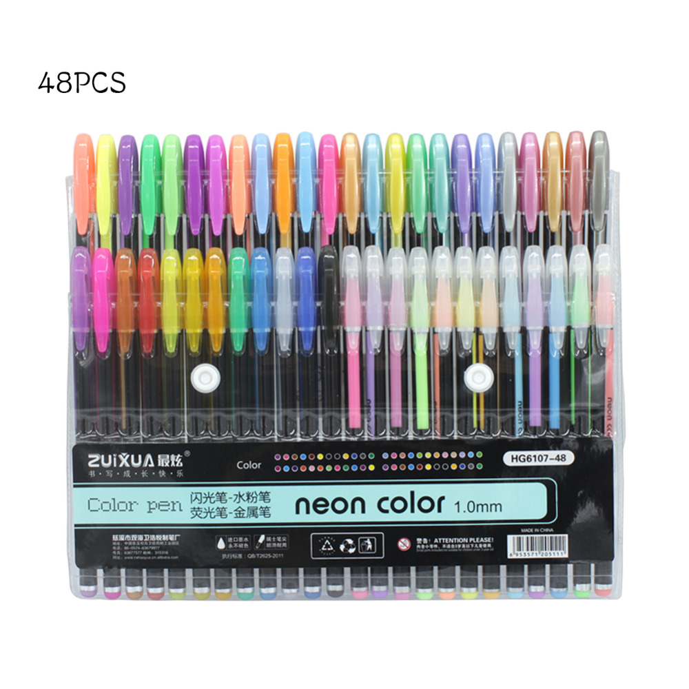 48 Colors 1 0mm Gel Pens Set Metallic Pastel Neon Glitter Sketch Drawing Color Pen Manga