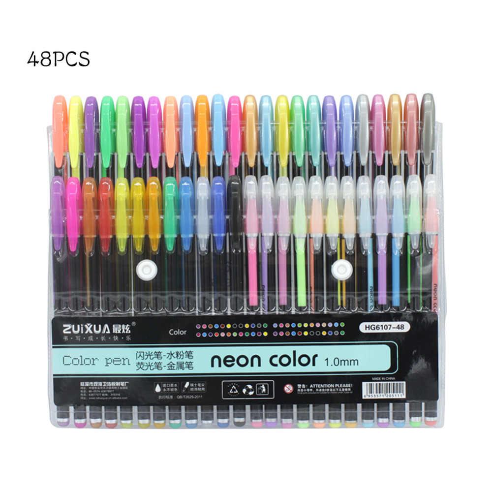 6 Colores Arte Gel Plumas Arte neón metálico Bolígrafo arte y artesanía plumas de dibujo
