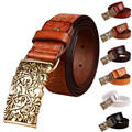 Hot Sale New Fashion Wide Fuax Pu leather belt women vintage Floral Cow skin belts women Top quality strap female for jeans J19