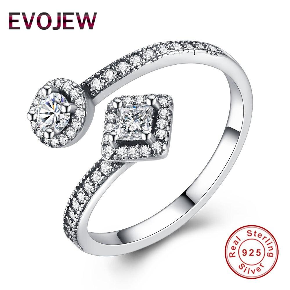 Evojew 3 Размеры 925 стерлингового серебра Открыть Кольца круглые и квадратные Форма