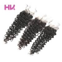Hair Villa Non Remy Brazilian Deep Wave 1B Natural Black 4 4 Free Middle 3 Part