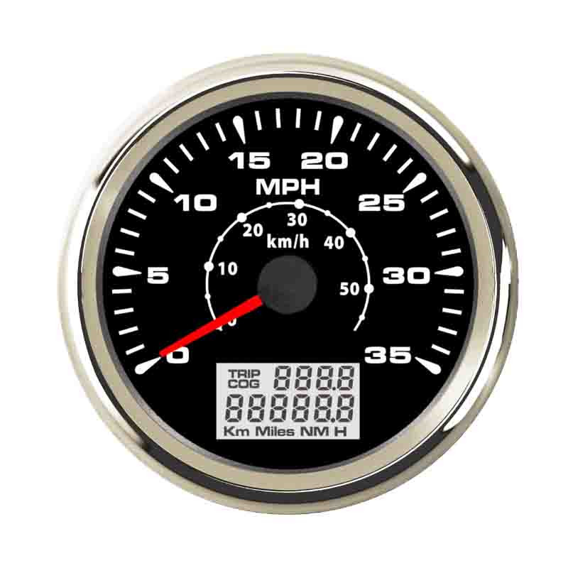 85mm GPS Speedometer Gauge 35 MPH Waterproof IP 67 For Motocycle Boat Car Speed Odometers With 7 Colors Backlight 9~32 V 100% brand new gps speedometer 60knots for auto boat with gps antenna white color