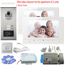 Rfid Key Video Door Phone Wired 7″ Color Monitor Intercom For An Apartment Of 2 Units Video Doorbell With Electronic Door Lock