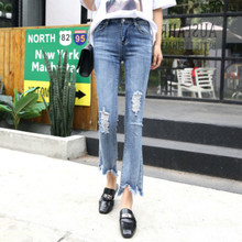 Women Jean Pants Slim Sexy Cotton Trousers for Girls and Ladies 2018 Summer Korea Style J990