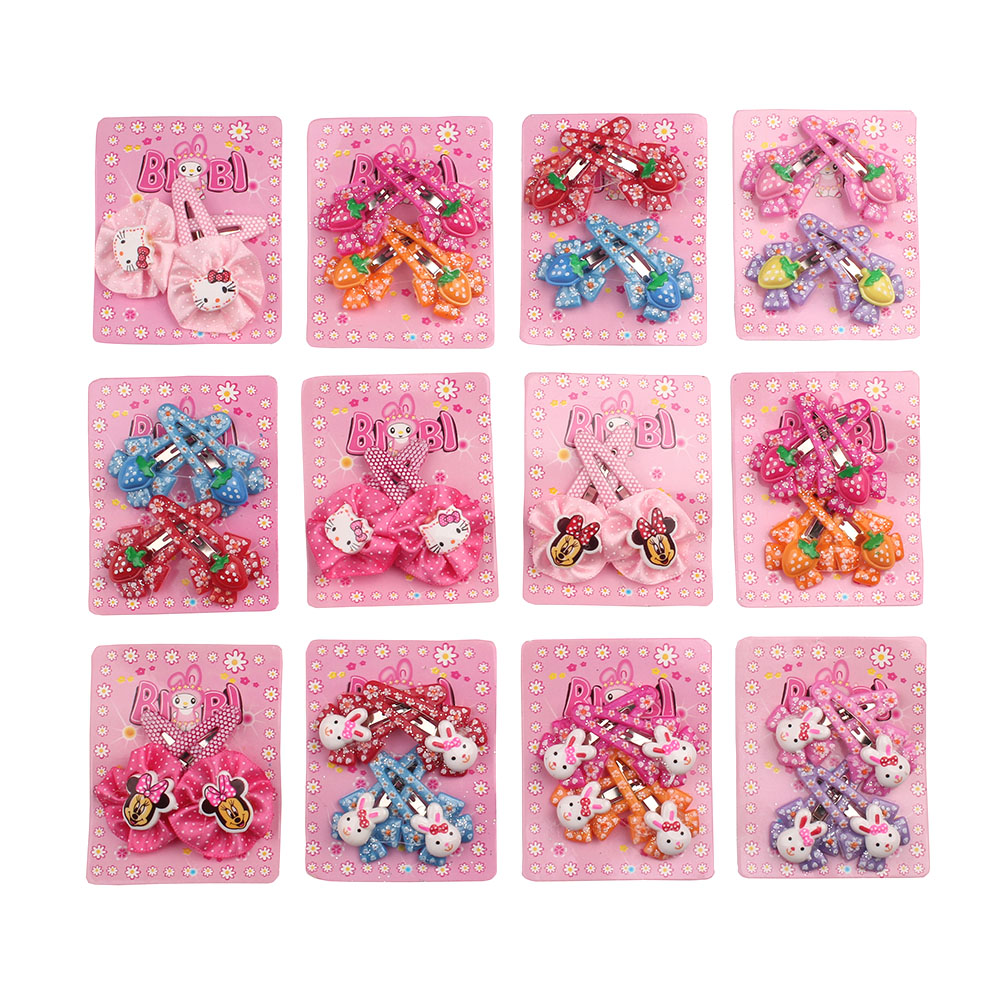 Girls Fancy Cute Baby Girl Headwear Wholesale Cute Flower Elastic Hair Clip  kitty minnie rabbit For Children  lot 2 Pieces
