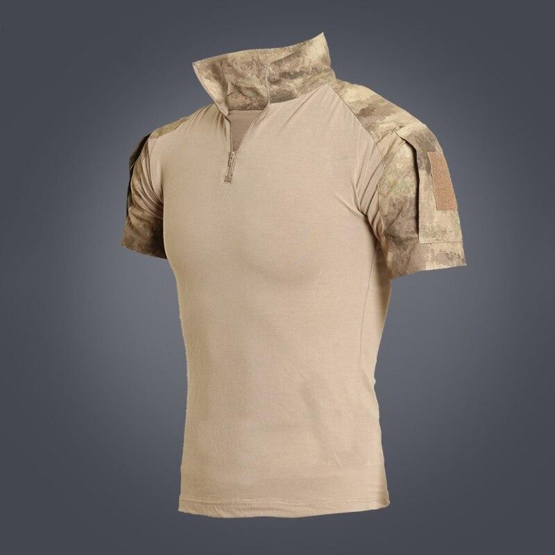 Refire gear летняя камуфляжная армейская боевая рубашка мужская Военная тактическая рубашка поло США страйкбольная камуфляжная рубашка поло с коротким рукавом - Цвет: Khaki Camo