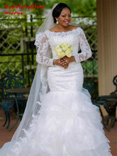 custom made fashion mermaid wedding dress 2017 boat neck long sleeves appliques lace beaded bridal marry gowns vestidos noiva