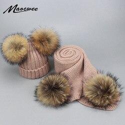Осенне-зимний комплект из шапки и шарфа с меховым помпоном для родителей и детей, женские вязаные шерстяные шапки-бини, шапки с помпоном из н...