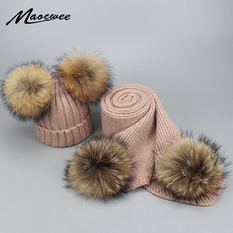 Autumn Winter Parent-child Fur Pompon Hat And Scarf Set Women Crochet Knitted Wool Beanies Caps Hats With Natural Fur Pom Pom