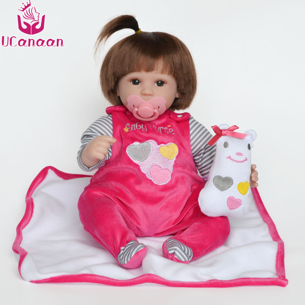 UCanaan 18'' 45cm Silicone Reborn Doll Soft Clothes Body Girls Dolls Reborn Realistic Baby New Born Alive Toys Kids Bonecas