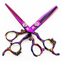 6 inch Professional Hair dressing scissors set Cutting+Thinning Barber shears golden purple High quality