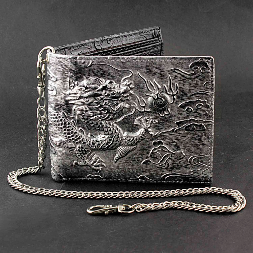 Men/'s biker/'s natural strong genuine leather zipper wallet with scorpion