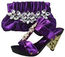 Purple Color Italian Shoe With Matching Bag Matching Shoes And Bag For Wedding African Women Shoes And Bag To Match 1308-L6