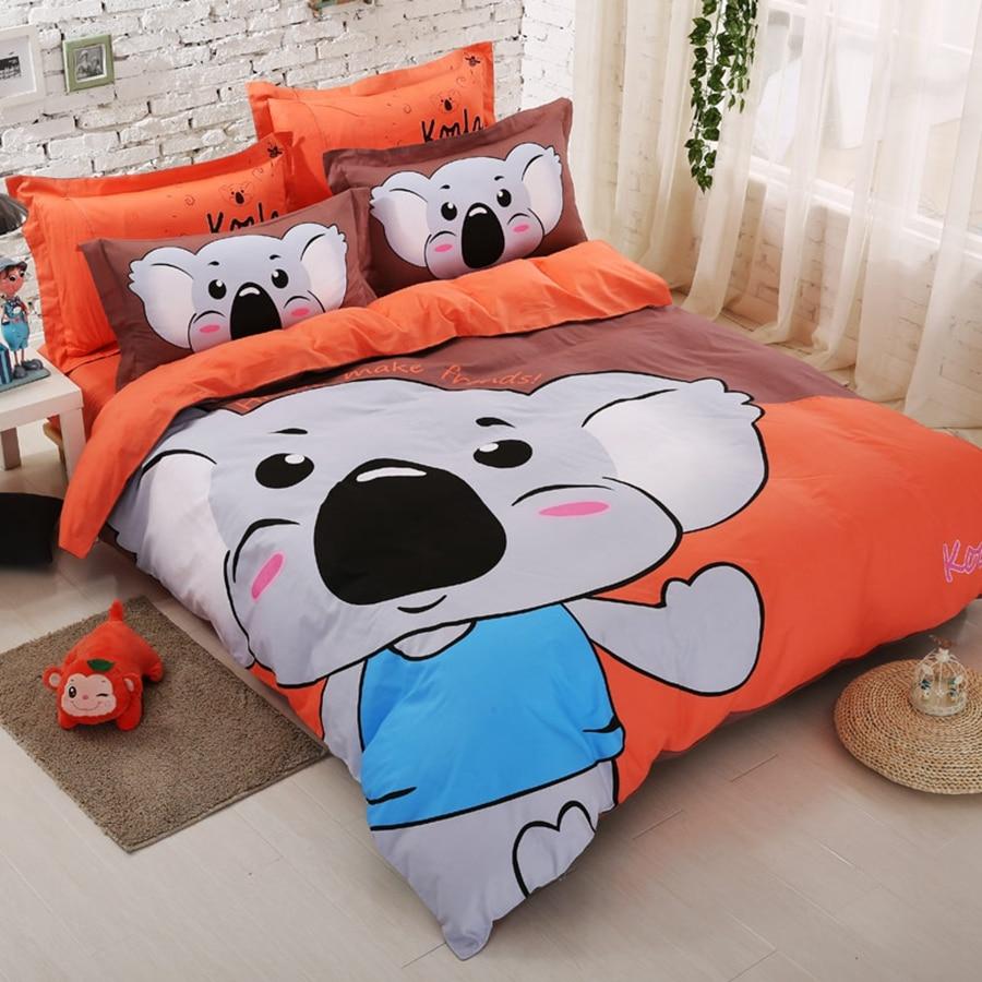 Brown and orange bedding - 100 Cotton Bedding Set Koala Duvet Cover Bedspread Bedding Pillowcase Queen