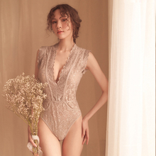 Yhotmeng new woman sexy lace perspective deep V shoulder underwear one-piece pajamas sleepwear