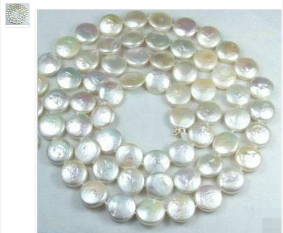 Women Gift Freshwater Natural 12MM White Coin Akoya Cultured Pearl Jewelry Gorgeous necklace
