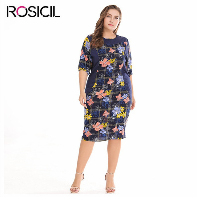 ec45bbe4b76 New Elegant Half Sleeve Print Plus Size Women Summer Casual Office Dresses  Big Size Long Bodycon Blue 3XL Large Size Women Dress