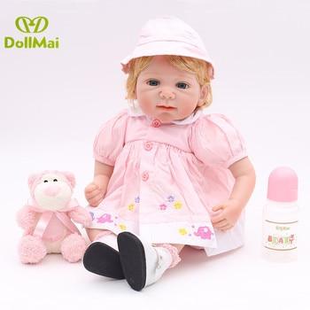 DollMai 55cm Lifelike Baby Dolls Smiling Realistic Soft Vinyl Reborn Dolls Kid's bebe Juguetes reborn boneca Brinquedos