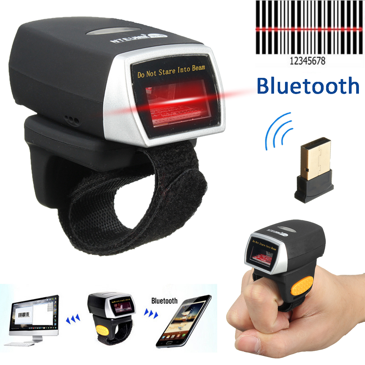 Mini Bluetooth Scanner Barcode Reader Laser Weirless Scanner Wearable Ring Bar Code Scanner 1D Reader Scan for Phone PC Tablet portable 1d bar code scanner bluetooth wireless mini ring finger barcode reader 1d barcode scanner for android ios windows