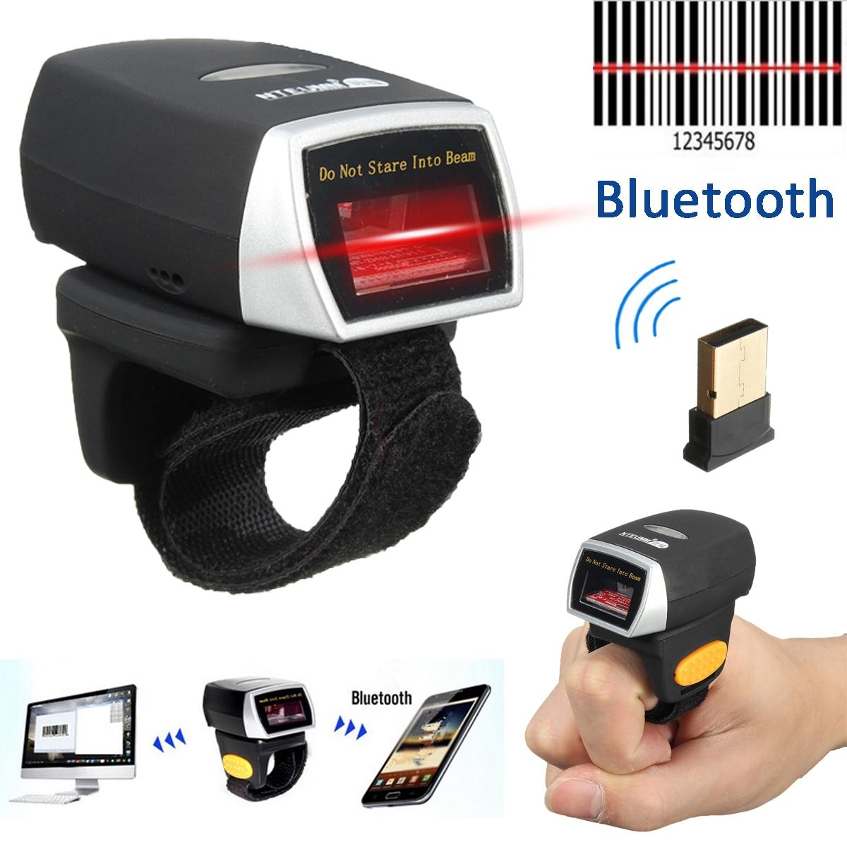 Mini Bluetooth Scanner Barcode Reader Laser Weirless Scanner Wearable Ring Bar Code Scanner 1D Reader Scan for Phone PC Tablet
