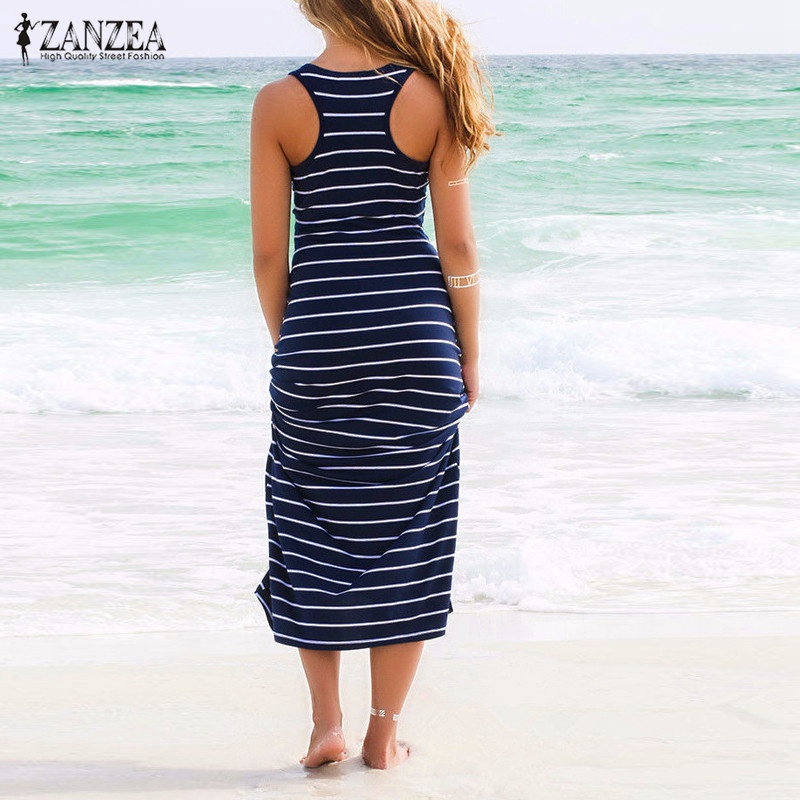 2016 Summer Style ZANZEA Women Striped Boho Long Maxi ...