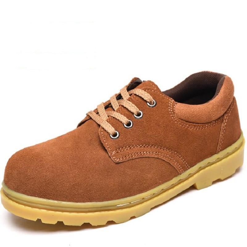 Marrons Da De Aço Dos Biqueira Punção Brown Anti Boot Sapatos Bater À Do Indestrutível Bota Prova Segurança Trabalho Homens Camurça Vaca Ankle Amshca 45 wqU6IR