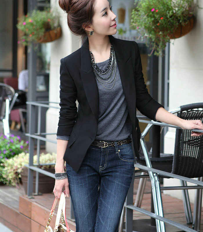 Caliente mujeres traje primavera otoño negro de manga larga chaqueta delgada de un solo botón chaqueta de negocios tamaño S-3XL