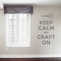 Keep Calm and Craft On Decal Vinyl Wall Art Decal Sticker Wall Stickers Home Decoration Wallpaper 60cmX105cm Free Shipping