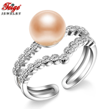 New Fashion Natural Pink Pearl Ring for Women Anniversary Jewelry Gift 8-9MM Freshwater Rings Fine Wholesale FEIGE