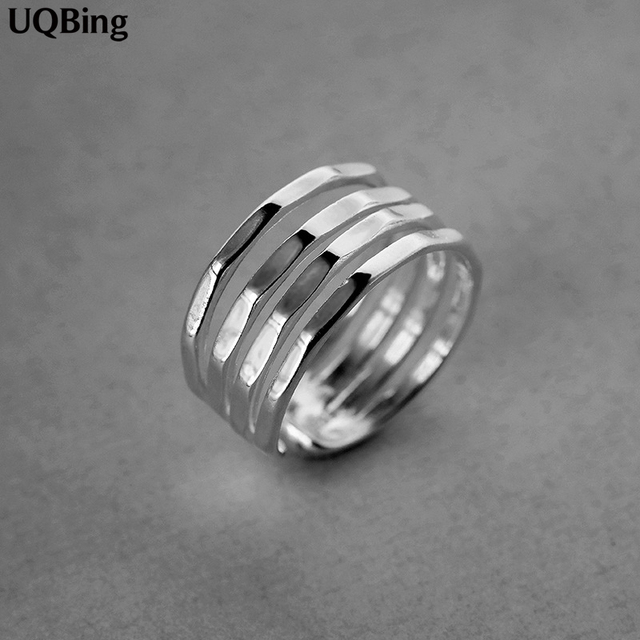 100% Real Pure 925 Sterling Silver Layer Smooth Ring Fashion Adjustable Finger Vintage Rings For Women Girlfriend Gifts