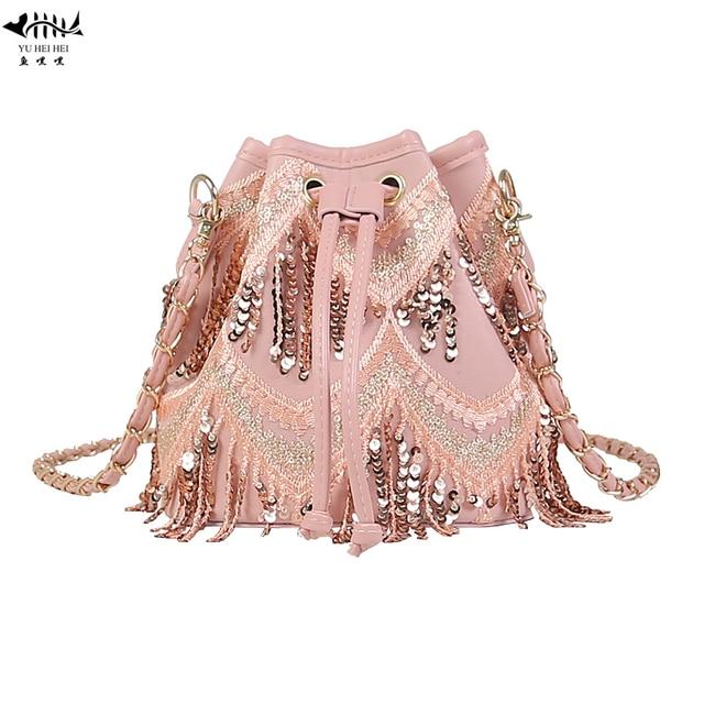63be807010 New Sequined Fringe Tassel Bucket Bags Women Shoulder Cross body Bag PU  Leather Lady Girl Fashion