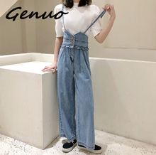 2019 new Genuo summer womens overalls fashion sexy party deep V-neck tank lace bow black white long jumpsuit