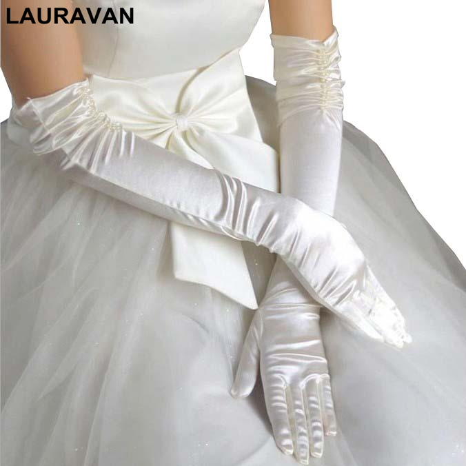 1 Pair Bride Bridal Wedding Gloves Red Black White Ivory Long Beaded Satin Elegant For Women Finger Gants Mariage Luvas De Noiva
