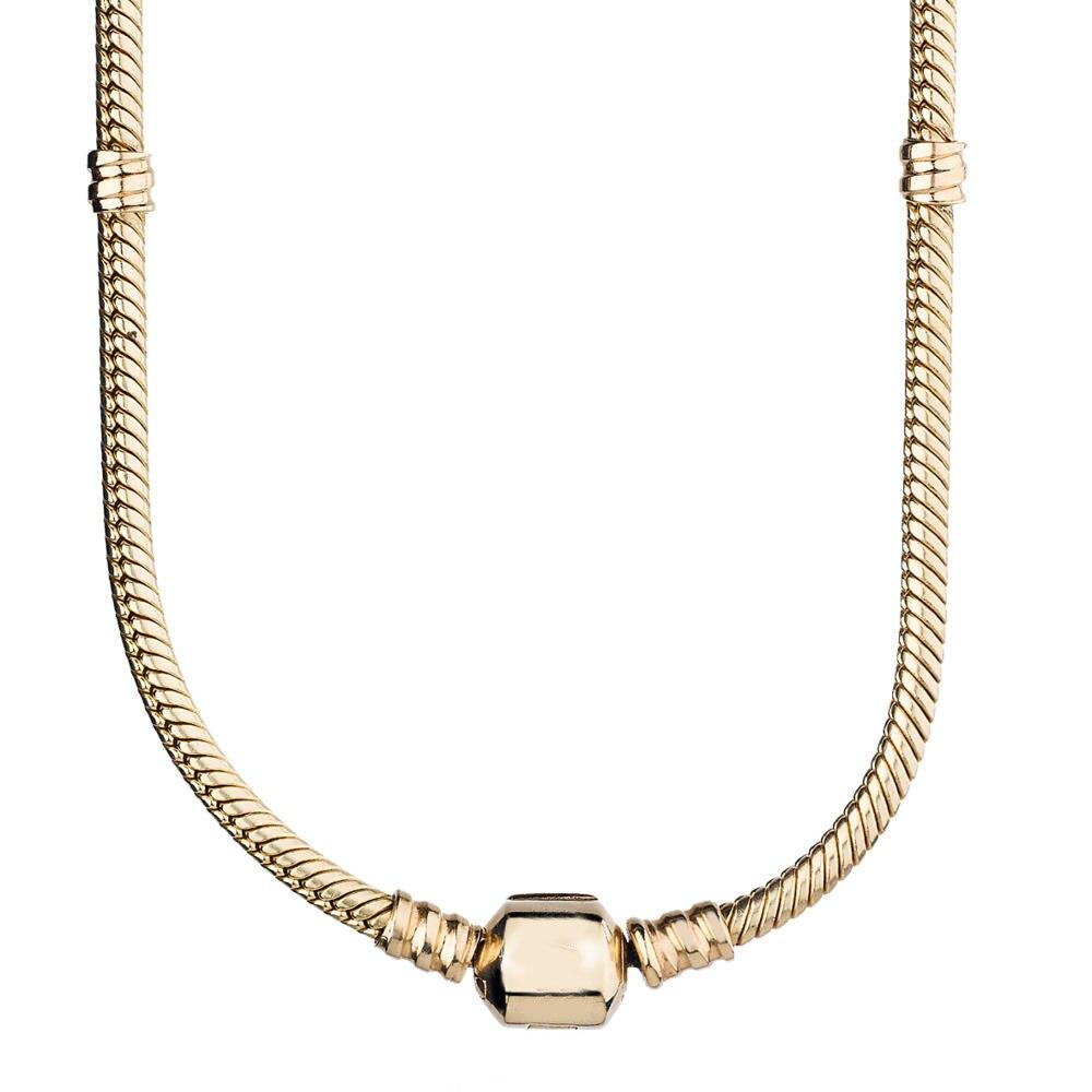 Couleur or homard baril & boule fermoir serpent chaîne collier pour les femmes cadeau de mariage Pandora bijoux 925 collier en argent Sterling - 2