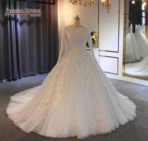 Image 2 - Vestido de casamento muçulmano 2019 pérolas completo beading 100% trabalho real com alta qualidade
