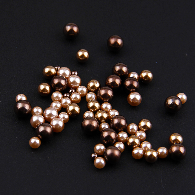 1 Bag 3-6mm Coffee Series Mix Size Scrub Imitation No Hole Pearl Round Beads For DIY Nail Art Decoration