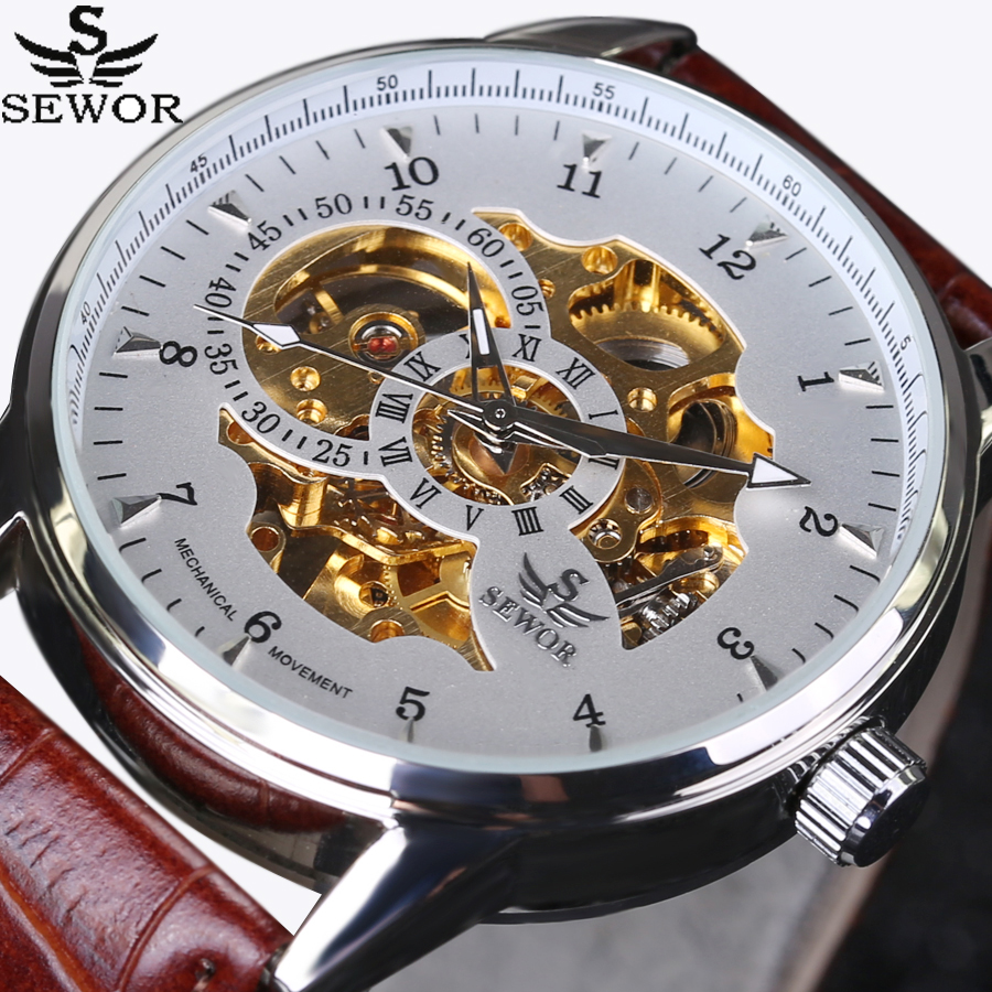 Fashion automatic mechanical Watch luxury brand SEWOR Watches skeleton military clock leather men casual erkek kol saatleri купить в Москве 2019