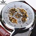 Moda Relógio mecânico automático de luxo marca SEWOR esqueleto Relógios relógio militar homens de couro casual erkek kol saatleri