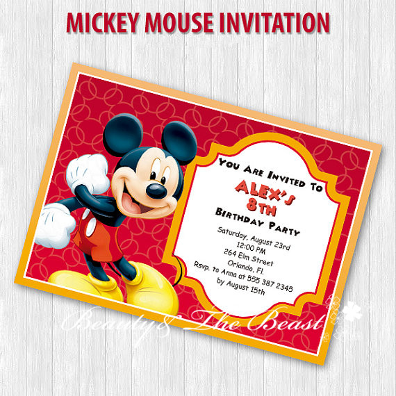 customized personalized mickey party invitations mickey invites