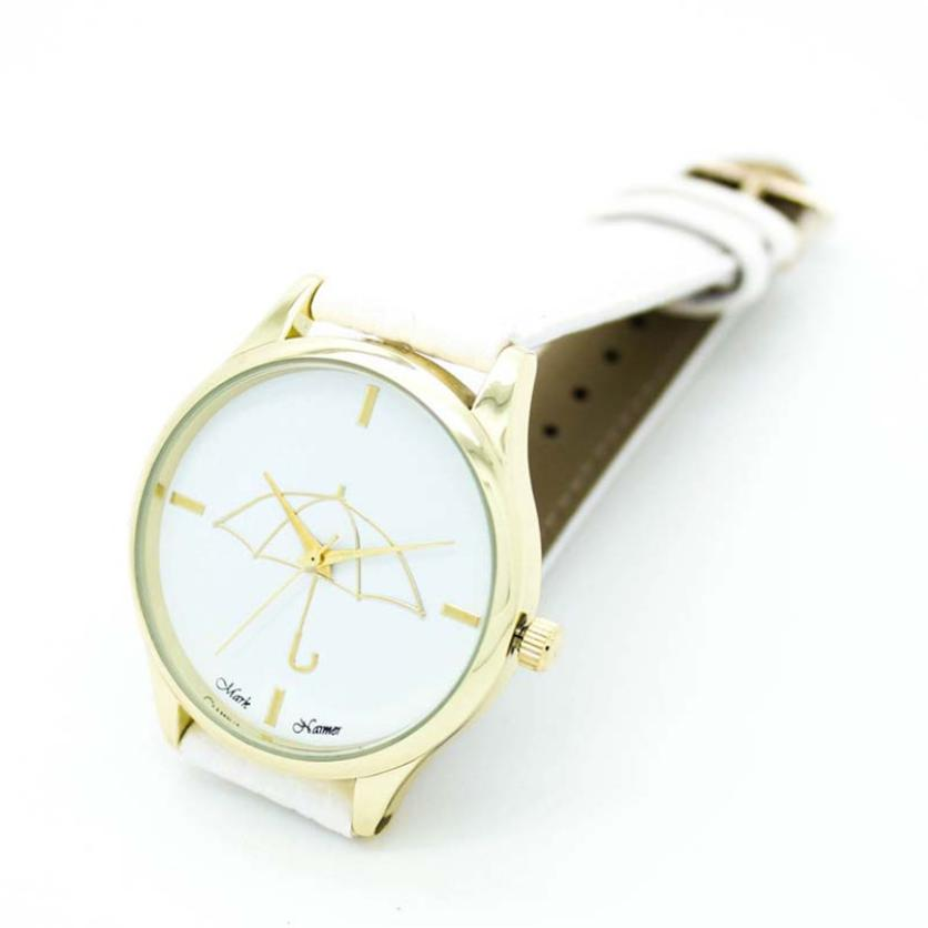 New Womens Umbrella Style Leather Band Analog Quartz Wrist Watch Female Fashion Women Watches Fashion Casual Women Dress M10 2017 new fashion elegant women casual simple quartz analog watch band wrist watches l10173