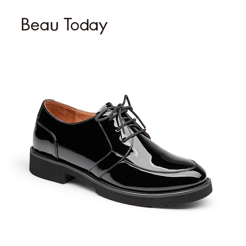 BeauToday Oxford Shoes Genuine Leather Spring Autumn Lace-Up Round Toe Calfskin Patent Leather Ladies Shoes 21074 beautoday derby shoes women genuine leather fashion spring autumn lace up round toe cow leather office ladies flats 21073