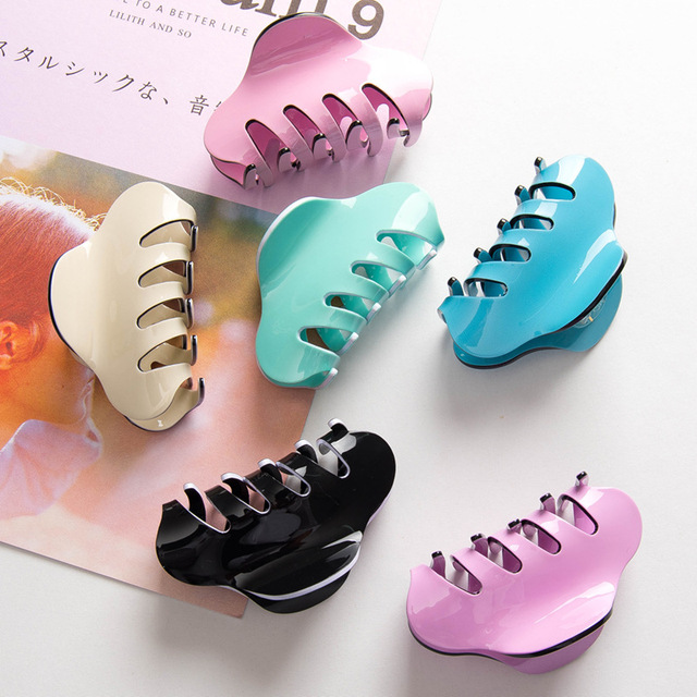 High Quality Ponytail Holder Hair Claw Stylish Women Solid Color Hair Accessories Retro Hair Clamp Hair Clips Make Up Tools