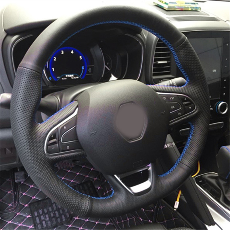 Free Shipping High Quality cowhide Top Layer Leather handmade Sewing Steering wheel covers protect For Renault Kadjar Koleos in Steering Covers from Automobiles Motorcycles