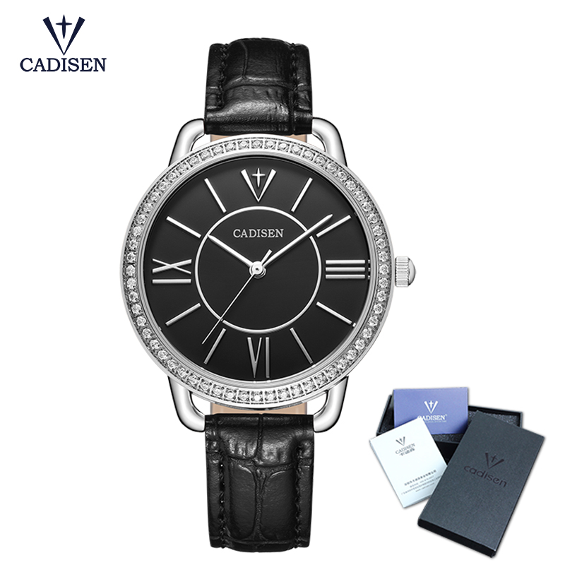 CADISEN 2018 New Fashion brand leather strap Diamond quartz women watches ladies dress watches Female Casual Gold Watches