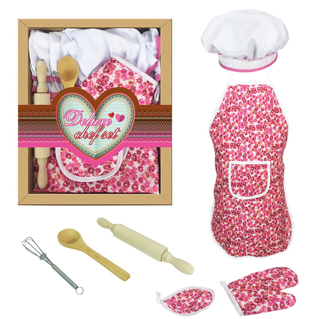 Generous 7pcs Kids Cooking And Baking Set Kitchen Costume Pretend Role Play Kit Apron Hat Kitchen Accessories Cooking Tools Mutfak Malzem Strong Packing Household Cleaning Protections