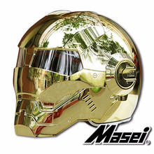 Masei bike scooter moto electroplate golden iron man helmet motorcycle helmet half helmet open face helmet casque motocross masei 610 top abs moto biker helmet ktm iron man personality special fashion half open face motocross helmet matt black
