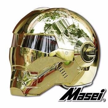 Casques De Moto Iron Man | Masei Vélo Scooter Moto Electroplate Fer Doré Homme Casque Moto Rcycle Casque Demi Casque Visage Ouvert Casque Moto Cross